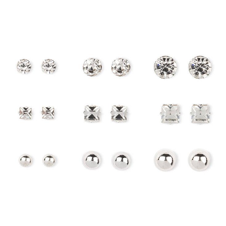Silver Tone Ball & Glass Stone Stud Earrings,