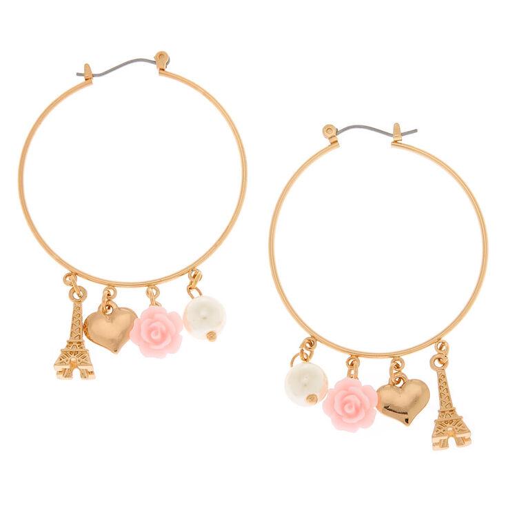 Gold 40MM Romantic Charm Hoop Earrings,