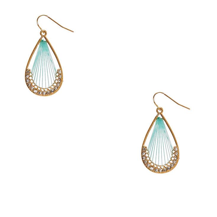 Mint & Gold Teardrop Dreamcatcher Drop Earrings,