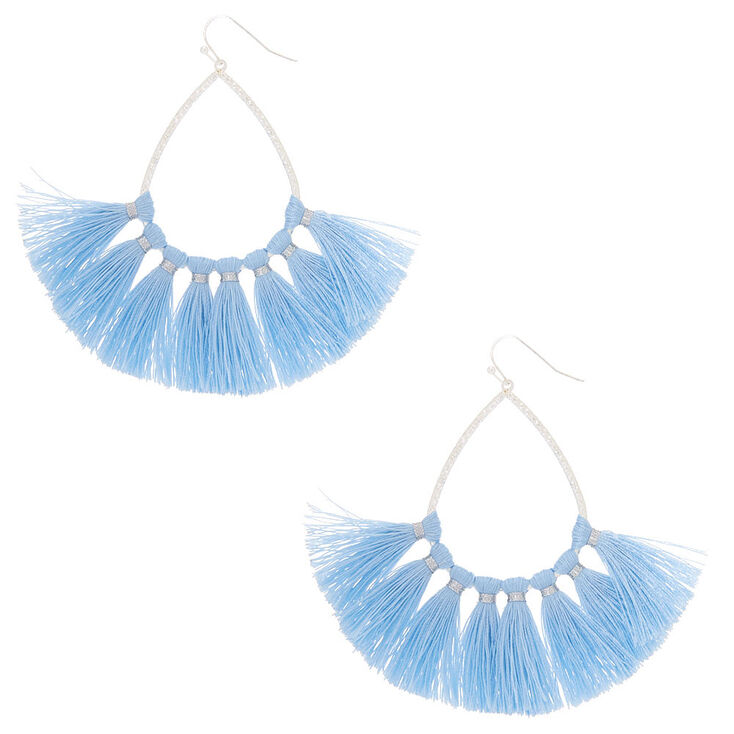 3 Tel Teardrop Drop Earrings Baby Blue
