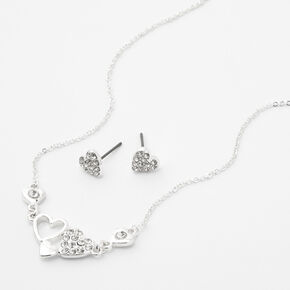 Silver Rhinestone Heart Clusters Necklace & Earring Set - 2 Pack,
