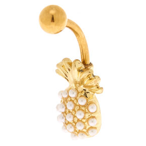 Gold 14G Pearl Pineapple Belly Ring,