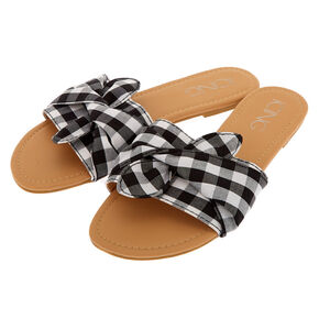Gingham Slide Sandals - Black,