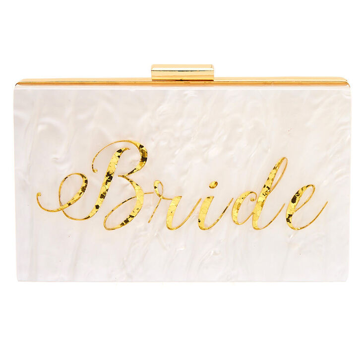 Bride Acrylic Clutch Bag - White,