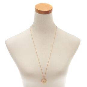 Gold Butterfly Long Locket Pendant Necklace,