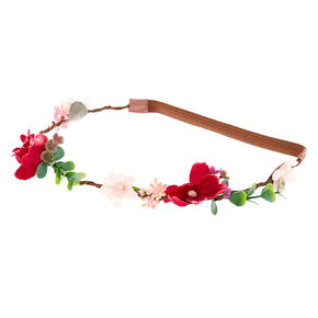 Twiggy Flower Crown Headwrap - Burgundy,