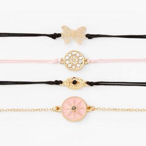 Gold Butterfly Evil Eye Bracelet Set - Pink, 4 Pack,