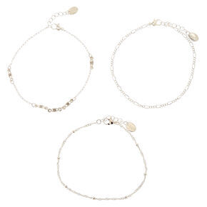 Silver Beaded Chain Anklet 3 Pack,