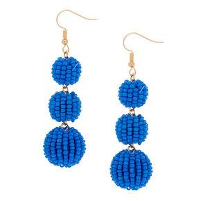 "2"" Beaded Ball Drop Earrings - Blue,"