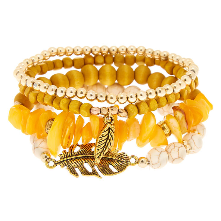 Desert Bead Stretch Bracelets - Yellow,