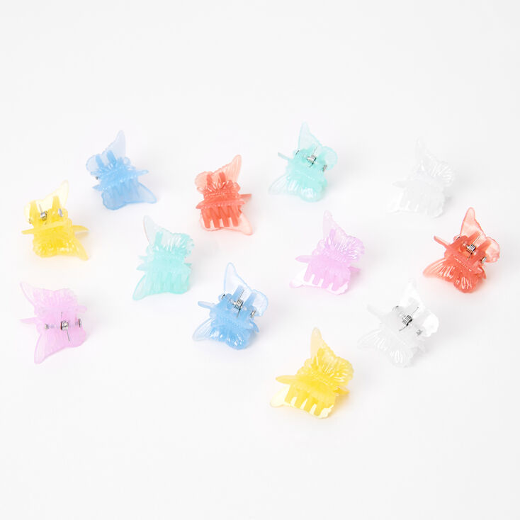 Pastel Butterfly Hair Claws - 12 Pack,
