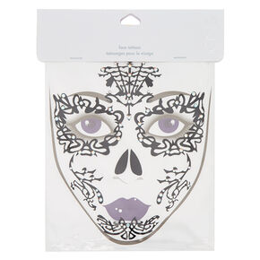 Lace Glitter Face Tattoos - Black,