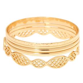 Gold Filigree Bangle Bracelets - 5 Pack,