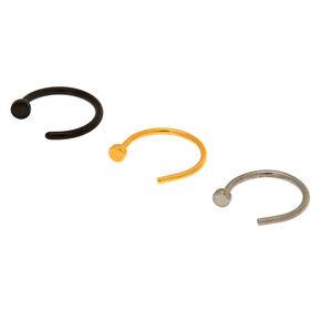 Mixed Metal 20G Horseshoe Nose Studs - 3 Pack,