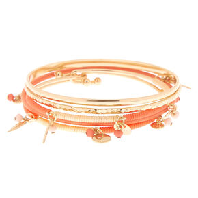 Gold Charm Bangle Bracelets - Coral, 5 Pack,
