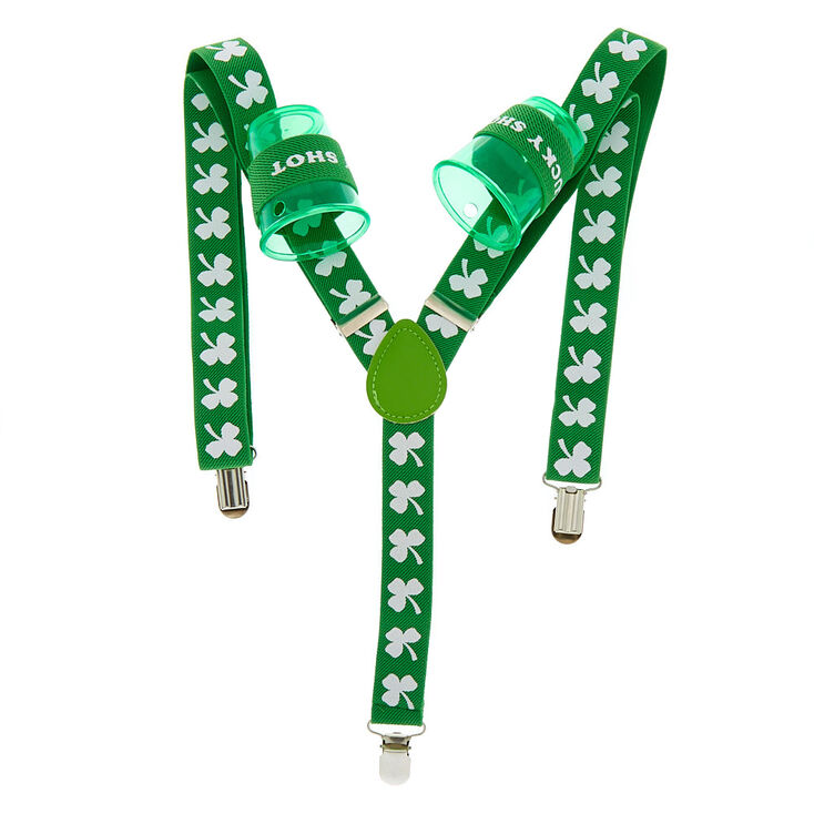 Shamrock Shot Glass Suspenders - Green,