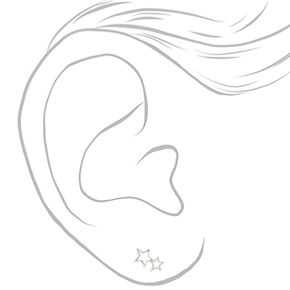 Sterling Silver Double Open Star Stud Earrings,