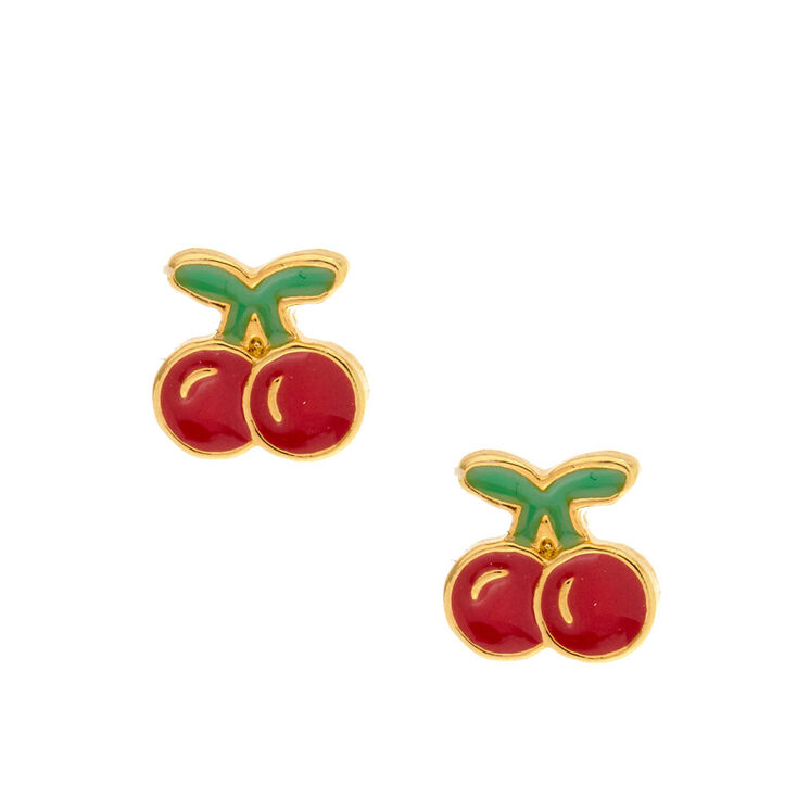 Gold Plated Cherry Bomb Earrings,