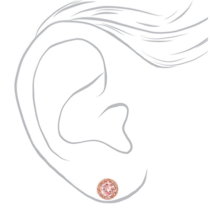 Rose Gold Cubic Zirconia Silk Stone Round Halo Stud Earrings,