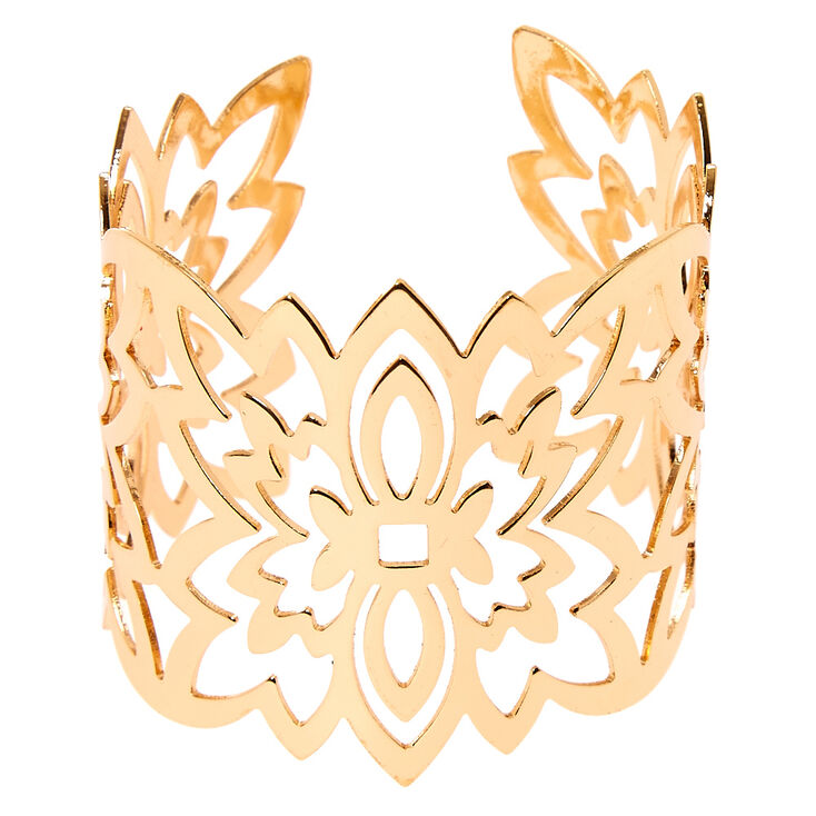 Gold Filigree Flower Cuff,