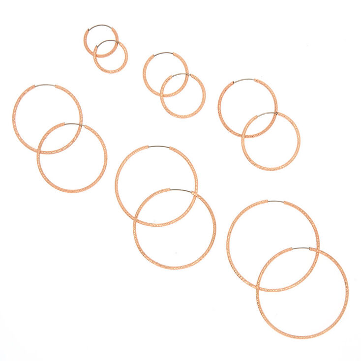 6 Pack Rose Gold-Tone Graduated Hoop Earrings,