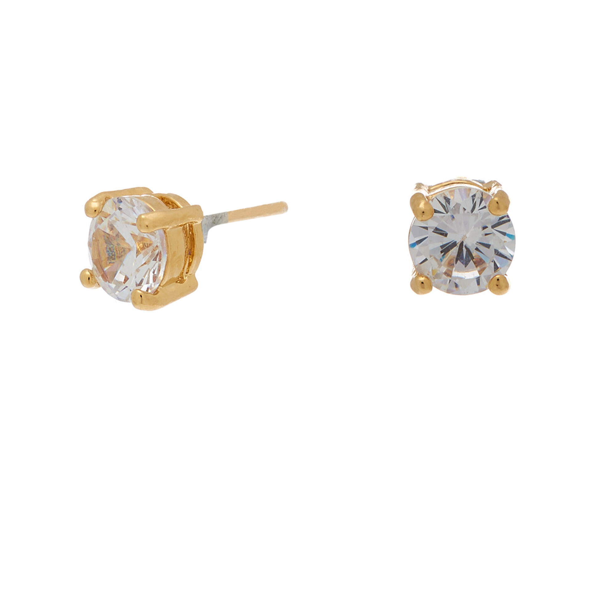 18kt Gold Plated 6mm Cubic Zirconia Round Stud Earrings