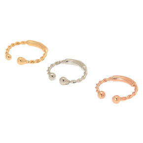 Mixed Metal Braided Faux Nose Rings - 3 Pack,
