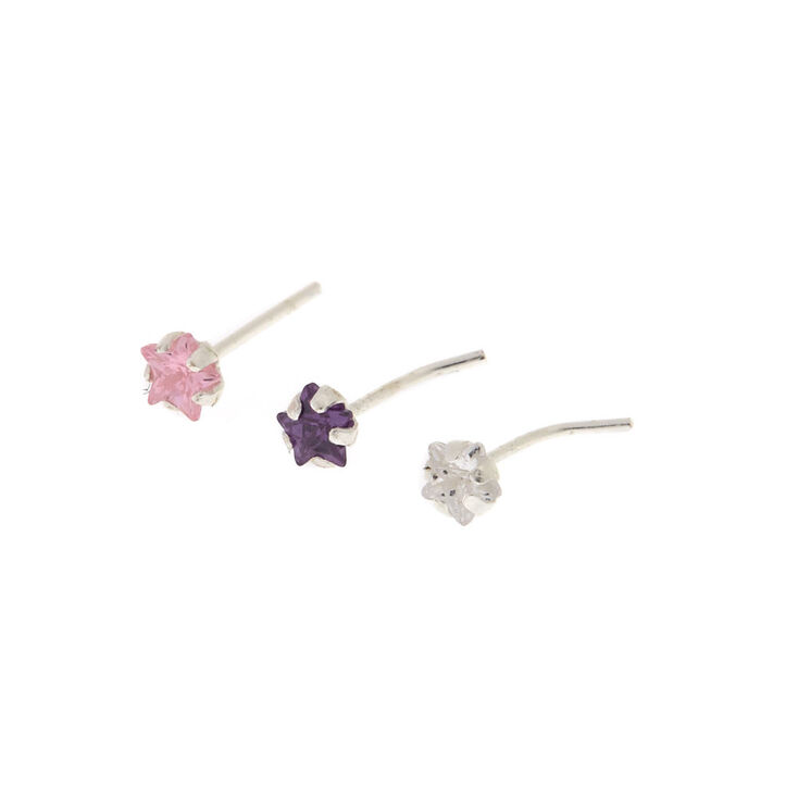 925 Sterling Silver Pastel Nose Studs 3 Pack,