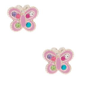 Sterling Silver Rainbow Stone Butterfly Stud Earrings - Lilac,