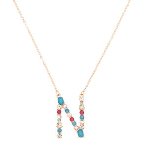 Embellished Long Initial Pendant Necklace - N,