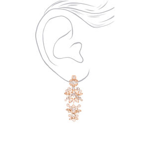 "Rose Gold 2"" Crystal Petal Clip On Drop Earrings,"