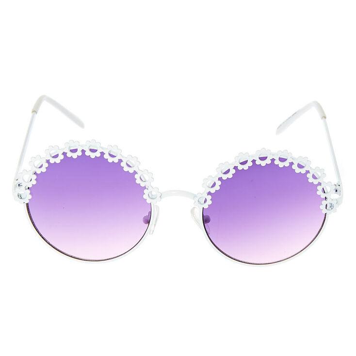 Round Flower Sunglasses - White,