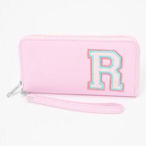 Pink Varsity Initial Wristlet - R,