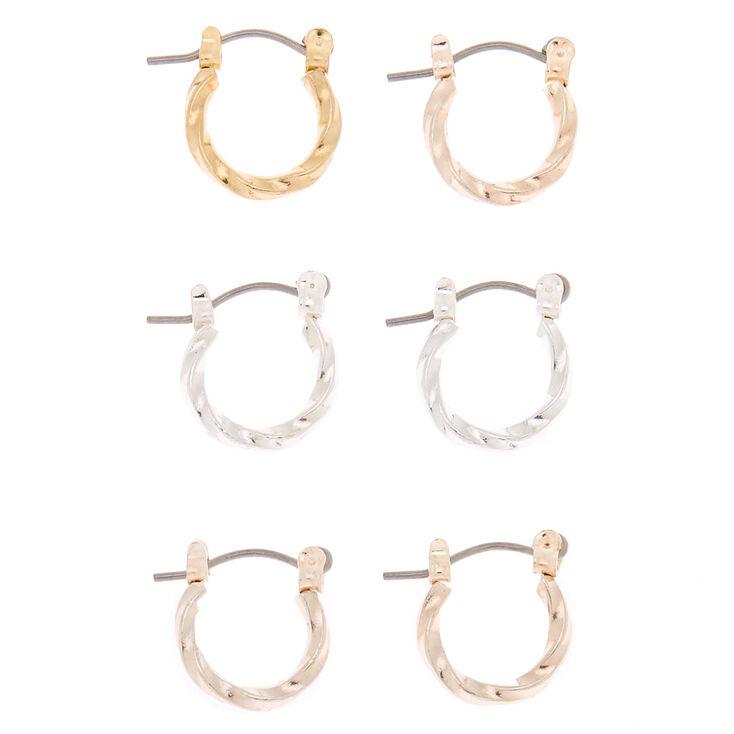 Mixed Metal 10MM Twist Hoop Earrings - 3 Pack,
