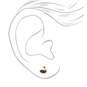Gold Swan Earrings - Black,