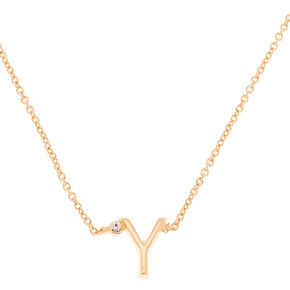 Gold Initial Necklace - Y,
