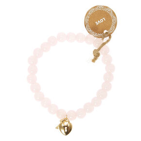 Beaded Love Stretch Bracelet - Pink,