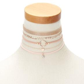 Rose Gold Fishnet Choker Necklaces - Pink, 5 Pack,