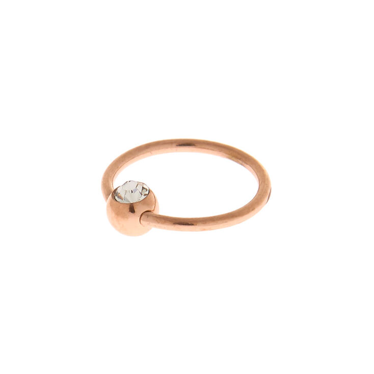 Rose Gold Titanium 20G Stone Cartilage Hoop Earring,