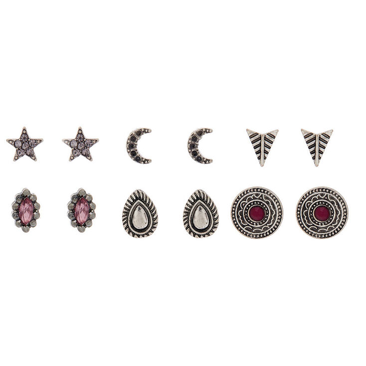 Hematite Stud Earrings - 6 Pack,