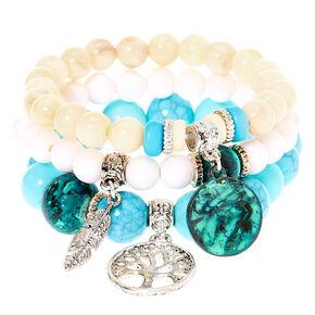Natural Bead Stretch Bracelets - 3 Pack,