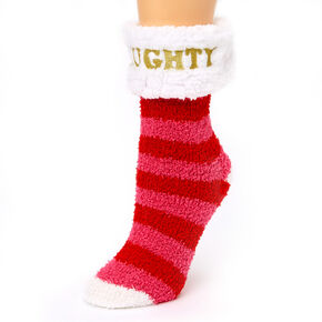 Naughty Striped Fuzzy Socks,