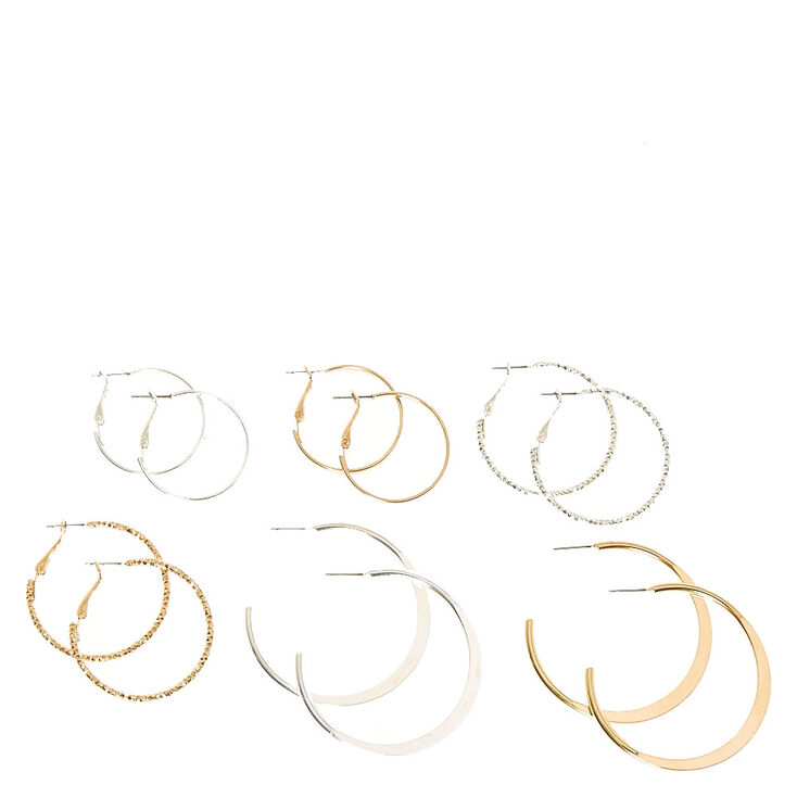 Mixed Metal Textured & Smooth Graduated  Hoop Earrings,