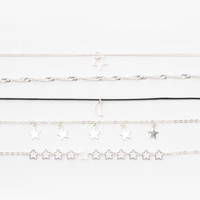 Silver Stars & Moon Chain Bracelets - 5 Pack,