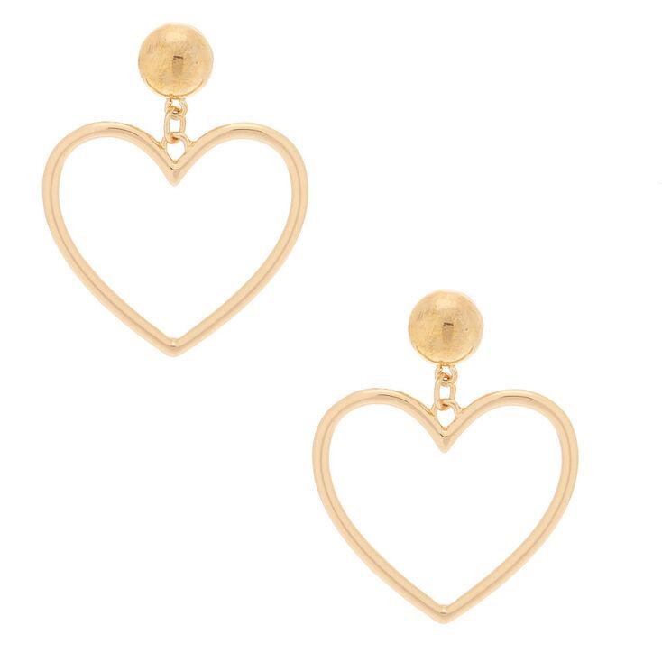 """Gold 2"""" Heart Drop Earrings,"""