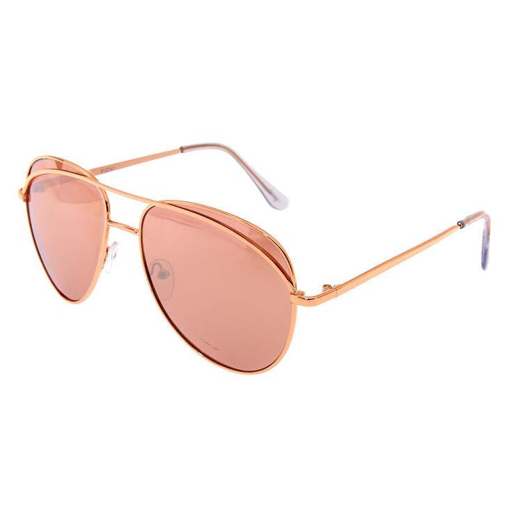 Rose Gold-Tone Aviator Sunglasses,