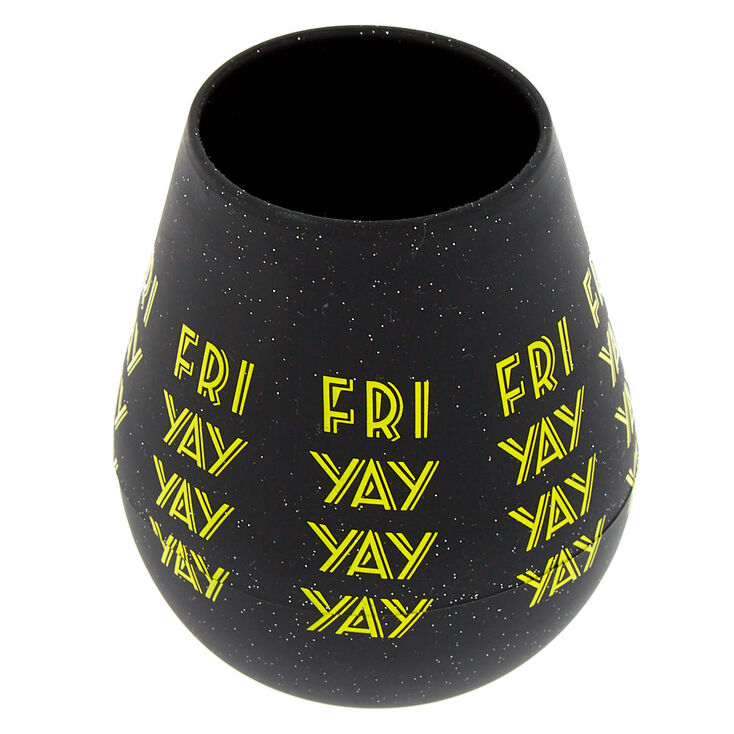 Silicone Fri Yay Wine Glass - Black,