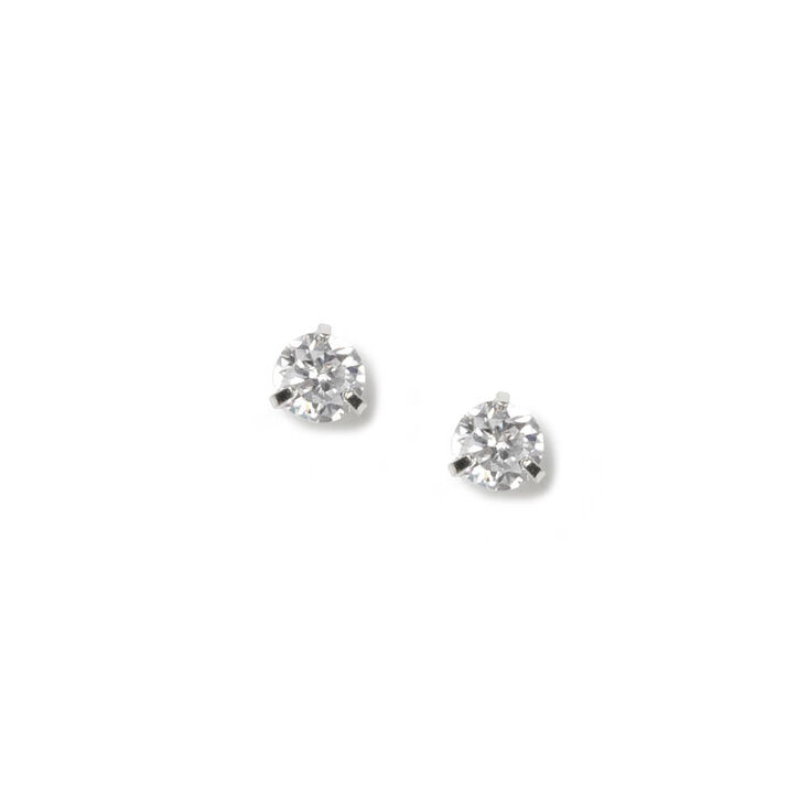 4MM Round Cubic Zirconia Martini Set Stud Earrings,