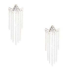 Marble + Fringe Ear Jacket Earrings,