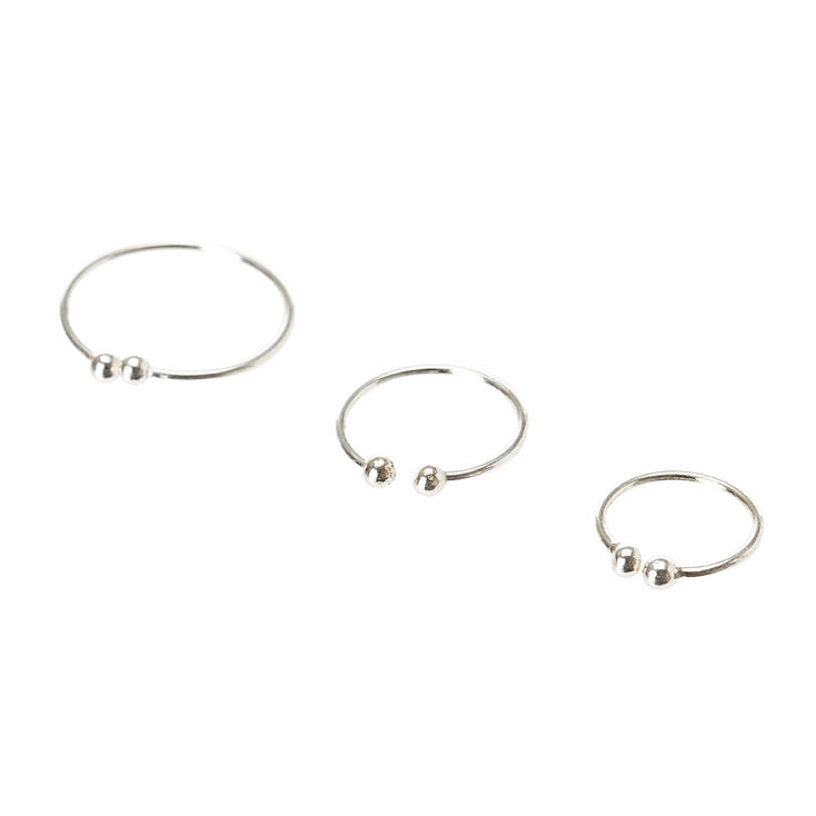Graduated Silver Faux Septum Ring Set,